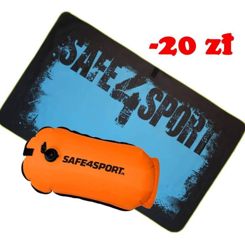 Set 9 RunSwimmer safety buoy and a towel